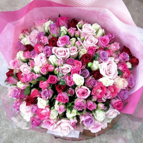 画像1: 100本のバラ花束 (1)