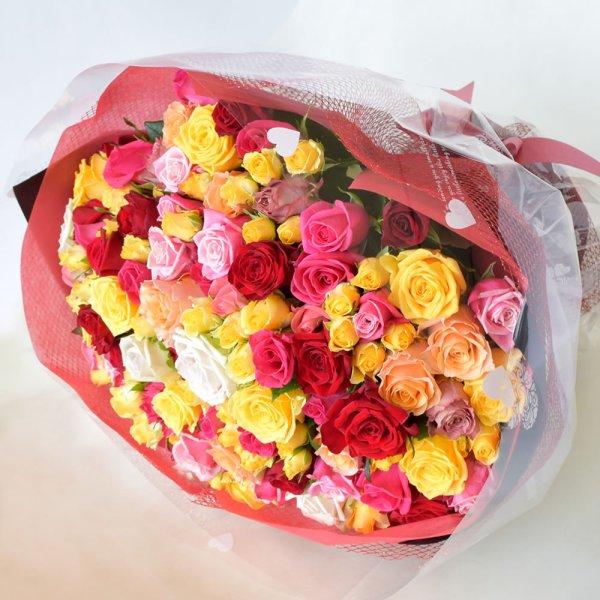 画像1: 108本のバラ花束 (1)